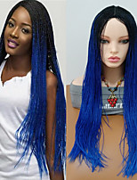 cheap -Synthetic Wig Curly Braid Synthetic Hair Ombre Hair / Middle Part / Braided Wig Blue Wig Women's Long Capless