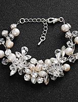 abordables -Femme Cristal Bracelet - Perle Fleur Européen, Mode Bracelet Argent Pour Mariage / Quotidien