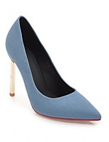 abordables -Mujer Zapatos PU Primavera verano Pump Básico Tacones Paseo Tacón Stiletto Dedo Puntiagudo Azul Oscuro / Azul Claro
