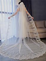 abordables -Une couche A Fleurs / Maille / Robe Convertible Voiles de Mariée Voiles chepelle Avec Motif floral perlé & dispersé 110,24 à (280cm) Tulle