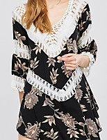 cheap -Women's Boho T-shirt - Floral Cut Out