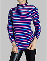 cheap -Women's Cotton Slim T-shirt - Striped Patchwork Turtleneck