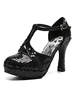 cheap -Women's Shoes Cowhide Spring & Summer T-Strap / Slingback Heels Chunky Heel Round Toe Sequin / Buckle Black / Wedding / Party & Evening