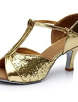 cheap -Women's Latin Shoes Synthetics Sandal / Heel Splicing Flared Heel Customizable Dance Shoes Gold