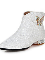 cheap -Women's Shoes Faux Leather Fall & Winter Fashion Boots / Bootie Boots Low Heel Pointed Toe Booties / Ankle Boots Bowknot / Sequin / Sparkling Glitter White / Black / Silver / Wedding