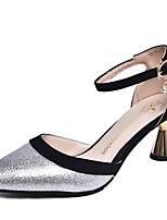 abordables -Femme Chaussures Polyuréthane Eté D'Orsay & Deux Pièces Chaussures à Talons Talon Bobine Bout pointu Or / Argent / Mariage