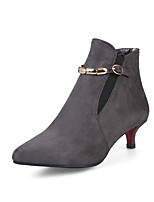 cheap -Women's Shoes Faux Leather Fall & Winter Bootie Boots Kitten Heel Pointed Toe Booties / Ankle Boots Buckle Gray / Red / Green