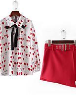 Недорогие -Жен. На выход Тонкие Блуза Юбки Геометрический принт Рубашечный воротник