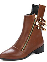 cheap -Women's Shoes PU(Polyurethane) Fall & Winter Riding Boots / Fashion Boots Boots Low Heel Pointed Toe Booties / Ankle Boots Buckle Black / Light Brown