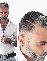 cheap -Men's Human Hair Toupees Wavy Monofilament Soft