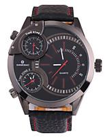 Недорогие -SHI WEI BAO Муж. Спортивные часы / Армейские часы Японский С тремя часовыми поясами / Крупный циферблат Кожа Группа Роскошь / Мода Черный / SSUO 377
