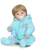 economico -NPKCOLLECTION Bambole Reborn Bambini 24 pollice Silicone per tutto il corpo / Silicone / Vinile - realistico, Occhi azzurri di impianto artificiale Per bambino Da ragazzo Regalo