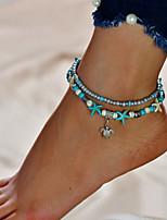abordables -Turquoise Bracelet de cheville - Tortue Double couche Argent Pour Sortie / Bikini / Femme
