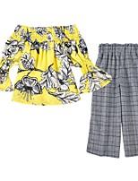 cheap -Toddler Girls' Floral / Plaid Half Sleeve Clothing Set
