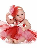 Недорогие -NPKCOLLECTION Куклы реборн Девочки 12 дюймовый Полный силикон для тела / Силикон / Винил - Искусственная имплантация Коричневые глаза Детские Девочки Подарок