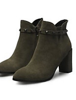 cheap -Women's Shoes Cowhide Fall & Winter Comfort / Bootie Boots Chunky Heel Black / Army Green