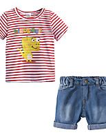 cheap -Kids Boys' Striped / Print Short Sleeve Clothing Set