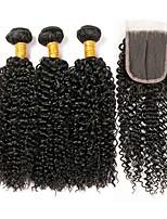 Недорогие -3 комплекта с закрытием Перуанские волосы Kinky Curly Необработанные / Натуральные волосы Подарки / Человека ткет Волосы / Сувениры для чаепития 8-20 дюймовый Естественный цвет Ткет человеческих волос