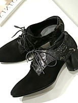 abordables -Femme Chaussures Cuir Automne Confort Oxfords Talon Bottier Noir