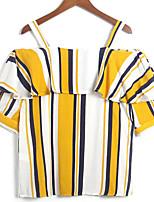 Недорогие -Жен. Рубашка С открытыми плечами Полоски