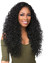cheap -Virgin Human Hair Lace Front Wig Wig Brazilian Hair Curly Deep Parting 130% / 150% / 180% Density Women Black Long Human Hair Lace Wig