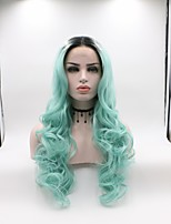 cheap -Synthetic Lace Front Wig Wavy Layered Haircut Synthetic Hair Curler & straightener Blue Wig Women's Mid Length Lace Front Wig / Yes