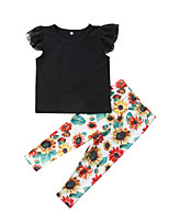 cheap -Kids Girls' Solid Colored / Floral Short Sleeve Clothing Set
