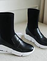 economico -Per donna Scarpe Nappa Autunno inverno Comoda Sneakers Piatto Punta chiusa Stivali metà polpaccio Bianco / Nero