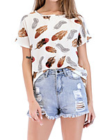 cheap -Women's Basic / Street chic T-shirt - Floral Print