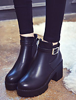 cheap -Women's Shoes PU(Polyurethane) Winter Comfort Boots Chunky Heel Black / Brown
