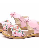 cheap -Girls' Shoes PU(Polyurethane) Spring & Summer Comfort Sandals Bowknot / Flower / Magic Tape for Kids White / Black / Pink / Peep Toe