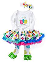 cheap -Baby Girls' Polka Dot / Print Long Sleeve Clothing Set