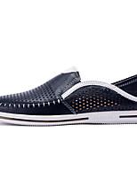 baratos -Homens sapatos Pele Napa / Pele Verão Conforto Mocassins e Slip-Ons Branco / Preto / Azul Escuro