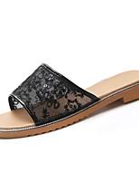 cheap -Women's Shoes PU(Polyurethane) Summer Comfort Slippers & Flip-Flops Flat Heel Round Toe Gold / White / Black