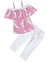 cheap -Baby Girls' Floral Short Sleeve Clothing Set
