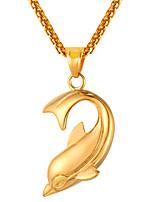 Недорогие -Муж. Длиные Ожерелья с подвесками - Нержавеющая сталь Дельфин Мода Золотой, Черный, Серебряный 55 cm Ожерелье 1шт Назначение Подарок, Повседневные