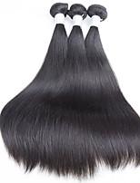 Недорогие -3 Связки Бразильские волосы Прямой Натуральные волосы Пучок волос / One Pack Solution / Накладки из натуральных волос 10-28 дюймовый Ткет человеческих волос Машинное плетение