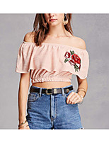 cheap -Women's Going out T-shirt - Solid Colored / Floral Boat Neck