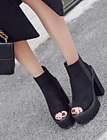 preiswerte -Damen Schuhe PU Frühling Komfort High Heels Blockabsatz Offene Spitze Schwarz
