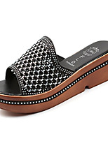 cheap -Women's Shoes PU(Polyurethane) Summer Comfort Slippers & Flip-Flops Creepers Round Toe Gold / Black / Silver
