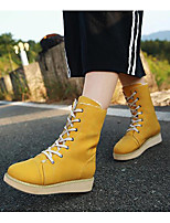 cheap -Women's Shoes PU(Polyurethane) Fall Snow Boots / Fluff Lining Boots Flat Heel Mid-Calf Boots Fuchsia / Blue / Khaki