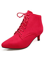 cheap -Women's Shoes Faux Leather Fall & Winter Bootie Boots Kitten Heel Pointed Toe Booties / Ankle Boots Gray / Red / Green