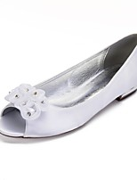 cheap -Women's Shoes Satin Spring Comfort / Ballerina Wedding Shoes Flat Heel Peep Toe Rhinestone / Satin Flower / Sparkling Glitter White / Ivory / Party & Evening