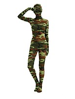 cheap -Patterned Zentai Suits / Cosplay Costume Zentai Cosplay Costumes Jade / Blue / Pink Camouflage Spandex Lycra / Elastic Unisex Halloween / Carnival / Masquerade