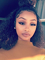 cheap -Remy Human Hair Lace Front Wig Brazilian Hair Curly Wig 130% Natural Hairline / With Bleached Knots Women's Short Human Hair Lace Wig