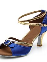 economico -Per donna Scarpe per balli latini Raso Sandali / Tacchi A fantasia Tacco a rocchetto Personalizzabile Scarpe da ballo Blu