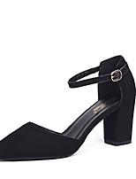 abordables -Femme Chaussures Flocage / Polyuréthane Eté Bride de Cheville Chaussures à Talons Talon Bottier Bout pointu Noir / Amande