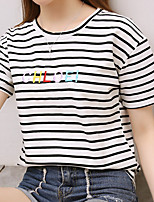 cheap -Women's Cotton T-shirt - Striped / Letter