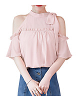 cheap -women's going out blouse - solid colored halter neck