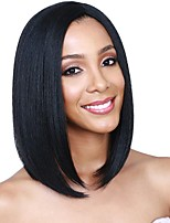 cheap -Remy Human Hair Lace Front Wig Wig Brazilian Hair Straight Bob Haircut / Short Bob 130% Density Silky / Natural Hairline / Middle Part Natural Women's Short Human Hair Lace Wig